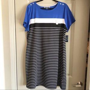 KAREN SCOTT Casual Striped Shift Dress wPocket NWT